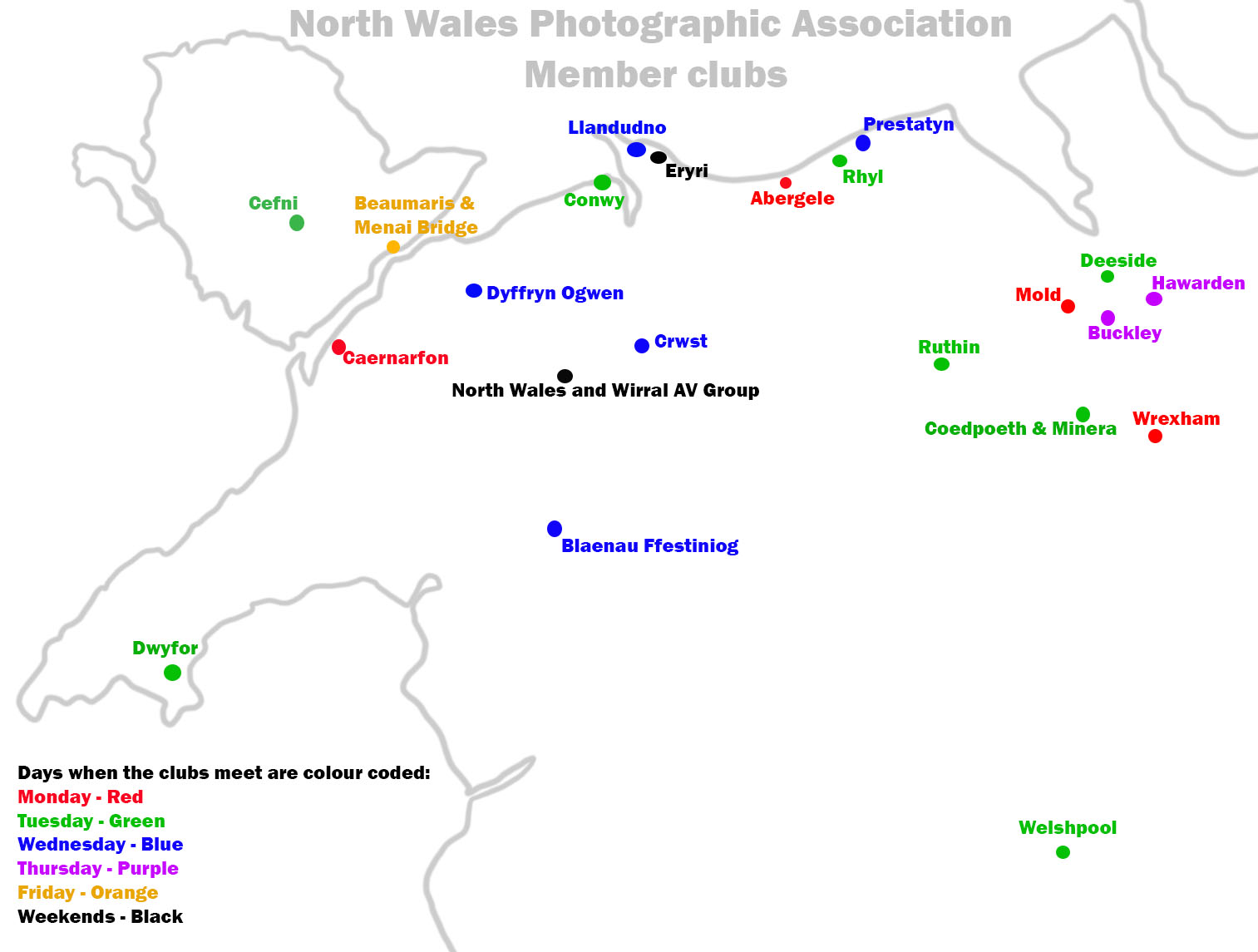 NWPA Map of Member clubs